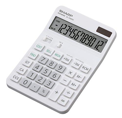 Sharp EL-338GN Tischrechner (12 Stellen, Cost-Sell-Margin-Funktion, Solar- und Batteriebetrieb) weiß