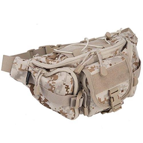 OLEADER Taktische Taille Pack Military Fanny Packs Hüftgürtel Tasche Beutel Werkzeug Organizer für Outdoor Wandern Klettern Angeln Jagd Bum Bag (Wüstentarn)