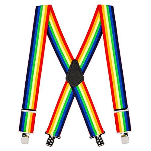 SuspenderStore Men's Rainbow Striped Clip Suspenders - 2 Inch Wide