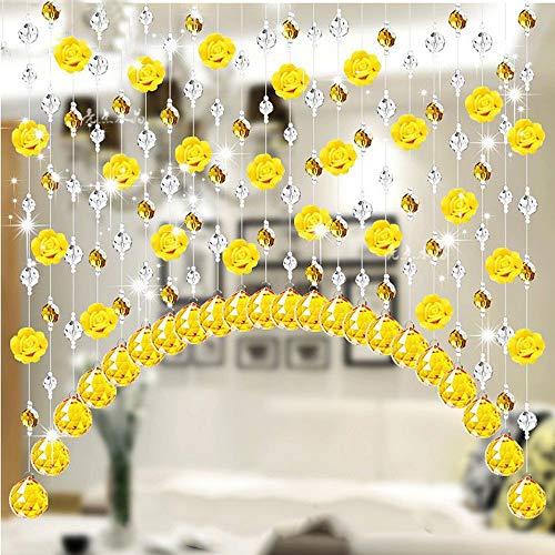 Eastery Kristallglas Rose Korn Vorhang Streifen String Wohnzimmer Schlafzimmer Fenster Tür Einfacher Stil Divider Hochzeitsdeko Valance Home Decoration B 1M (Color : G, Size : 1M)