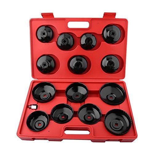 Euronovità en-220667llaves para filtro aceite a taza vaso Set 15piezas (maletín, gris