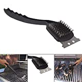 HOKIPO Stainless Steel BBQ Grill Cleaning Brush with Scraper (Standard Size, Black)