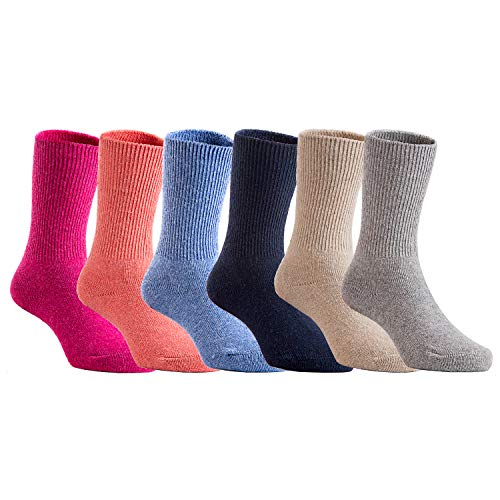 Lovely Annie 6 Pairs Childrens Wool Socks Comfy, Durable, Stretchable Thick & Warm Socks for Kids CGF Size 4Y-6Y (Blue,Gray,Navy,Rose,Orange,Beige)