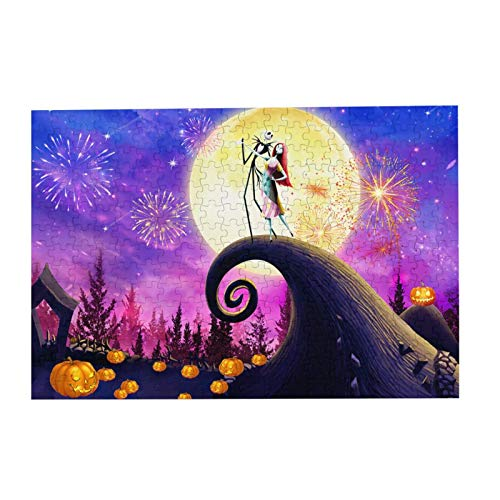 The Ni-GHT-mare Before Christmas Puzzle 300 Piece Wooden Puzzle Halloween Picture Decorations, Unique Birthday Present Suitable For Teenagers And Adults (The Nightmare Before Christmas1, 300PCS)
