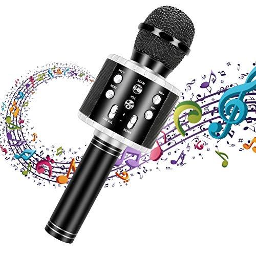 Drahtloses Bluetooth Karaoke Mikrofon, Guiseapue Tragbares 3 in 1 Karaoke Handmikrofon Geburtstagsgeschenk Home Party Lautsprecher für iPhone/Android/iPad/PC/Smartphone