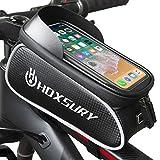 Hoxsury Bolsa para Cuadro de Bicicleta, Bolsa Impermeable para Manillar de Bici, Pantalla Táctil de TPU Sensible, Bolsa para Teléfono Móvil Compatible con Todos los Smartphone de Menos de 6.7 Pulgadas