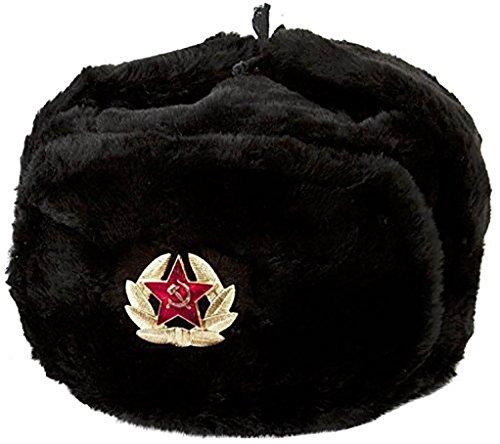 RUSSIANSTORE Russische Schwarz Ushanka Wintermütze Militärmütze Der Sowietischen Armee. Größe (M)