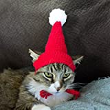 schnappy Soft Handmade Crochet Knitted Cat Bonnet Hat,Pet Santa Pom-Pom Cap for Small Cats Dogs (Red with White)