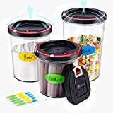 Anholi airtight seal food storage containers,Auto electric vacuum pump,cookie jars,Lasting freshness food save canister set,BPA Free,3pcs,Kitchen Pantry Organization for dry food,coffee,pasta,cereal