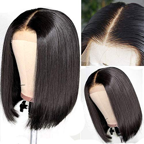 UNice Hair 13X6 Lace Front Human Hair Bob Wigs for Women, Unprocessed Brazilian Remy Hair Straight Wig Free Part Pre Plucked with Baby Hair, 150% Density Natural Black Color (10'')