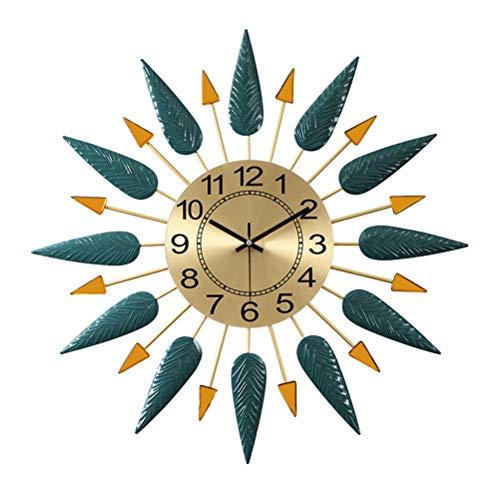 Reloj De Pared Sunburst - Reloj De Pared Retro Moderno De Mediados De Siglo - Esfera De Oro Metalizado Con Pluma Y Flecha Decorativa - Movimiento De Cuarzo Silencioso - Azul Eléctrico | 56Cm