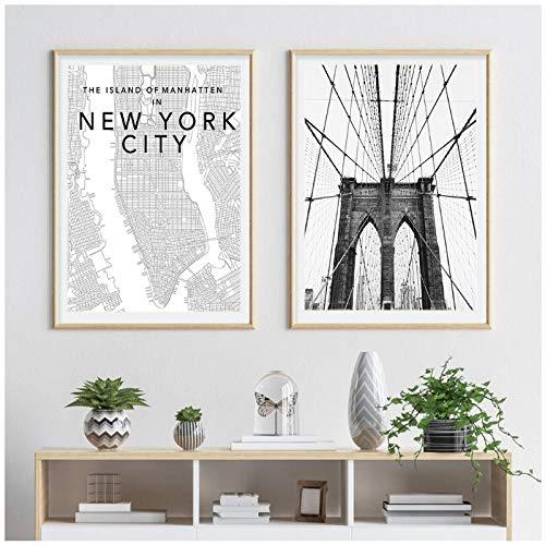 AdoDecor Cuadro de Arte de Pared en Lienzo, Carteles e Impresiones de Nueva York, póster en Blanco y Negro, imágenes para decoración de Sala de Estar, decoración del hogar, 40x60cmx2 sin Marco