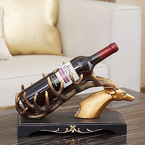 Golden Deer Wine Rack Encimitop Free Standing Wine Toders Soportes para contador, RESEÑA Botella de vino, soporte para botellas para barra de licor de bar, mesa de vino Mini barras para el hogar 021