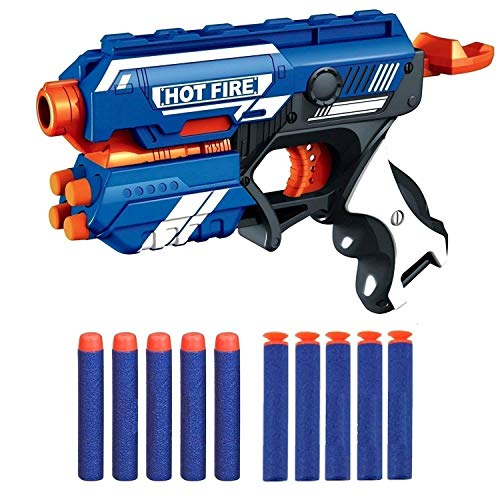 MDN Foam Gun Toy Blasters for Kids with 10 Darts and Soft Bullet Gatling Slam-fire Shooting Game Party Gifts Stocking Fillers for Toddlers Kids Boys Girls Age 6+ Years Old(Blue)