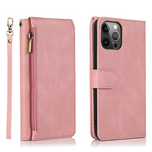 SAVYOU Wallet Case Compatible for iPhone 12,[8 Credit Holder] Premium Folio Leather Wallet Flip Cover Kickstand & [Wrist Strap] [Zipper Pocket] Durable Shock Protective Case iPhone 12/12 Pro 6.1 inch