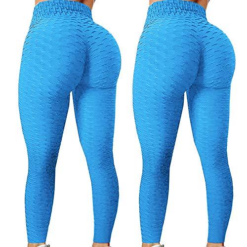 2 Stücke Damen Honeycomb Tik tok Leggings Sexy Slim Hohe Taille Booty Bauchkontrolle Yogahose Elastische Atmungsaktiv Geraffte Hintern Heben Puffhose Anti Cellulite...