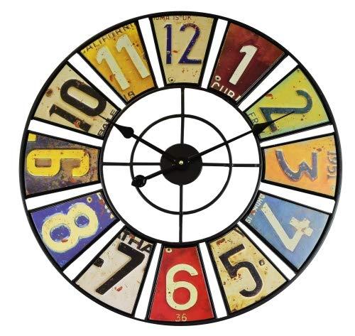 WT 1614 - Reloj de Pared (Metal, Cuarzo, diámetro de 60 cm), diseño Vintage