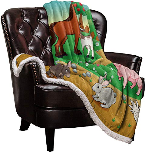 SuperSoftShaggySherpaWarmThrowBlankets Farmyard Poultry Animals Cow Horse Donkey and Rooster Provide Fuzzy, Cozy Luxury Blanket Perfect Throw for Bed/Couch/Sofa (60'x80')