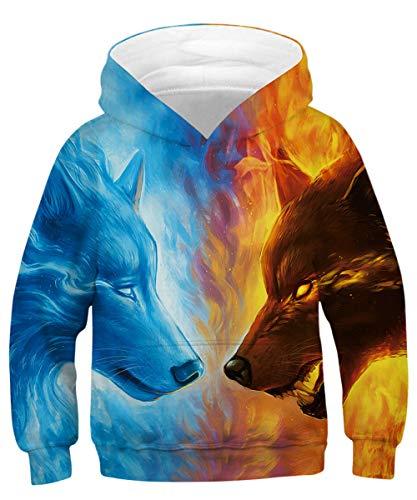 Rave on Friday Wolf Hoodie Jungs 135 Lustige Kapuzenpullover Galaxy 3D Druck Pullover Langarm Sweatshirt Lässig Hoody für Mädchen M