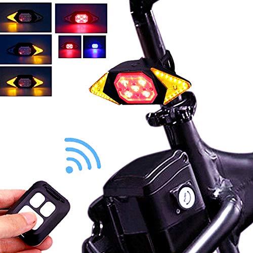 XINGYUE Luz trasera de bicicleta con señal de giro 5 modos de carga USB, luz trasera inalámbrica con mando a distancia roja intermitente para bicicleta de montaña, carretera, ciudad, etc.