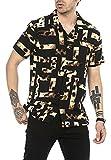 Camisa Casual para Hombre de Manga Corta Estilo Animal Print Patrón de Leopardo Tejido Ligero Negro XL