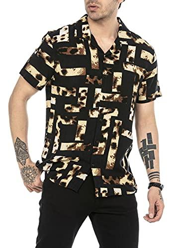 Camicia Casual da Uomo a Manica Corta Animal Print Leopardata Tessuto Leggero Nero S