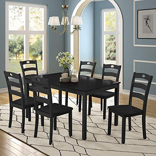 Merax Dining Table Set Home Kitchen Table and Chairs (Black, 7 Pieces)