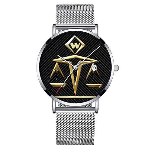 Minimalistische Mode Quarz-Armbanduhr Elite Ultra Thin wasserdichte Sportuhr mit Datum mit Mesh-Band 163.Skalen der Gerechtigkeit - monogrammiert (v2)