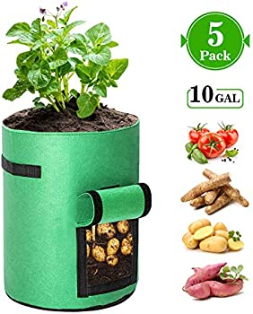 5-Pack Kaufam 10 Gallon Plant Grow Bag with Harvest Window and Handles