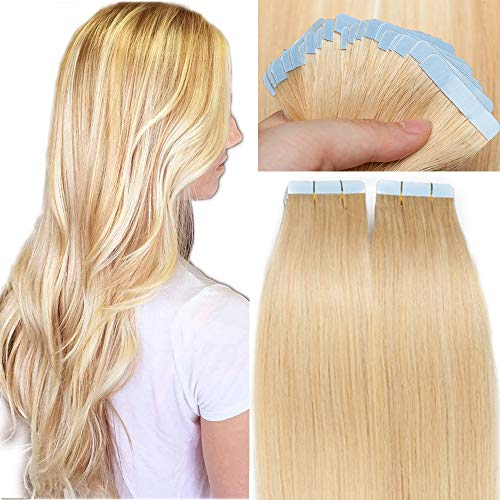 SEGO Bande Adhesive Extension Naturel Tape In Remy Hair - 35 CM 24#Blond Naturel [1.5g X 20 Pièces] - (Epaisseur Mince) Extensions Adhésif Vrai Cheveux a Froid Invisible