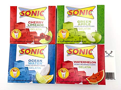 Sonic Gelatin Jello Shot Bundle. Cherry Limeade, Ocean Water, Watermelon, and Green Apple Flavors. Includes Jello Shot Recipes Cards from Carefree Caribou!