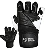 Steel Sweat Weightlifting Gloves - 18 inch Wrist Wrap Support for Workout, Gym and Fitness Training - Best for Men and Women Who Love Weight Lifting - Leather ZED XL