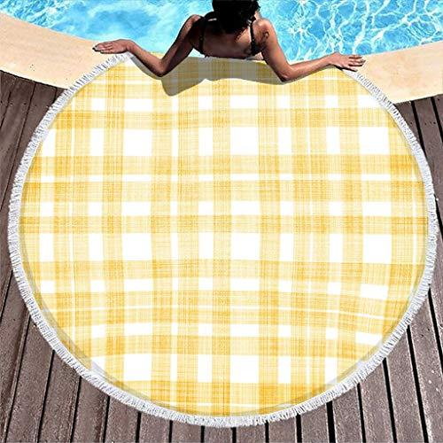 Toalla de playa redonda de tartán amarillo a cuadros escoceses para la playa, picnic, baño o playa, toalla de baño para mujer y niños, toalla de microfibra suave con flecos, color blanco, 150 cm