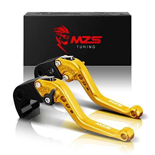 MZS Short Brake Clutch Levers Compatible with YZF R1 2004-2008| YZF R6 2005-2016 Gold