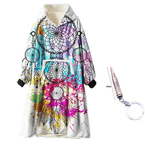 ZUICHU plafond flanel hoodie kleurrijk windvangnet patroon met warmte-isolerende deken microvezel-fleece zachte warme trui met grote zak (eenheidsmaat, met sluitband)