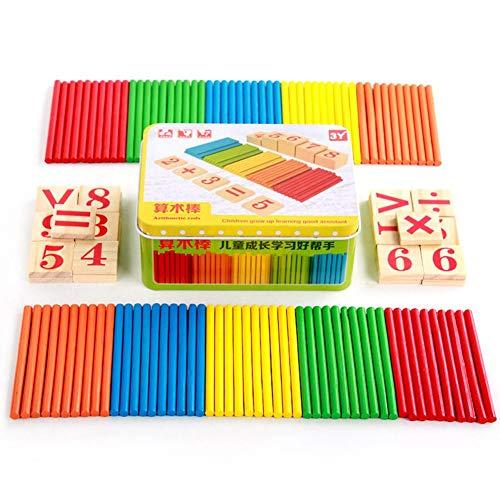 Taoytou - Juego de Varillas de Madera para niños, matemáticas, números de matemáticas, Varillas de conteo