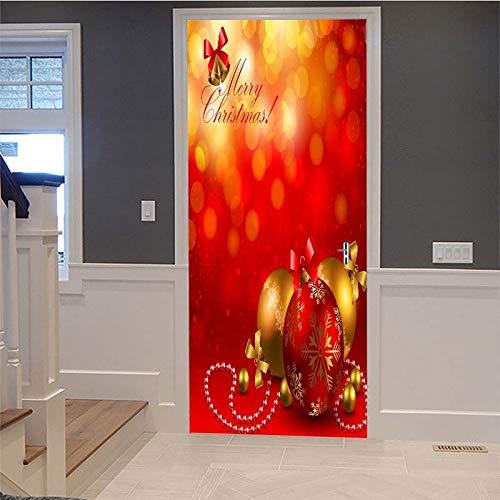 YQZYMT™ 3D Innentür Plakate Türtapete Türaufkleber 95*215CM Rotes kreatives Weihnachtsgeschenk Selbst-Adhesive Vinyl Tür Poster Abziehbilder Tür Wandmalereien Wand Aufkleber Tapete Wohnzimmer Schlafzi
