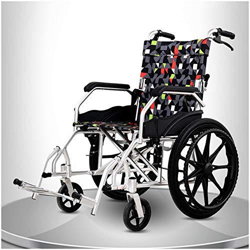 TXDWYF Rollstühle mit Selbstantrieb,Leichtgewichtrollstuhl,Rollstuhl Schmal Klappbar,Fußstützen Abnehmbar,Armlehne rutschfest,Größe 45 cm,20in