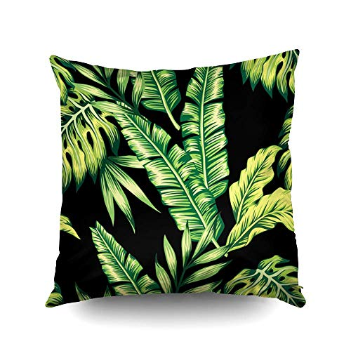 N / A Joy Pillow case, Throw Square Decorative Pillow Cover, Cotton Cushion Covers Painting Tropic Summer Seamles Both Sides Printing Invisible Zipper Home Sofa Decor Pillowcase