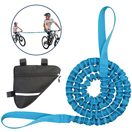 Tuxuzal Kinder Fahrrad Abschleppseil mit Fahrrad Dreiecktasche, Fahrrad Abschleppgurt Elastisch, Fahrrad Bungee Abschleppseil, Eltern Kind Zugseil Abschleppseil, Tragfähigkeit 500 lbs