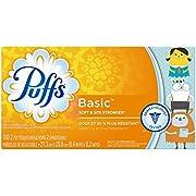 Puffs Basic Facial Tissues; 1 Family Box, 180 Tissues per Box (Pack of 4)
