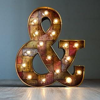 Símbolo& luminoso decorado estilo vintage, pintado y envejecido a mano en color marrón y dorado. Ideal para decoración de ...