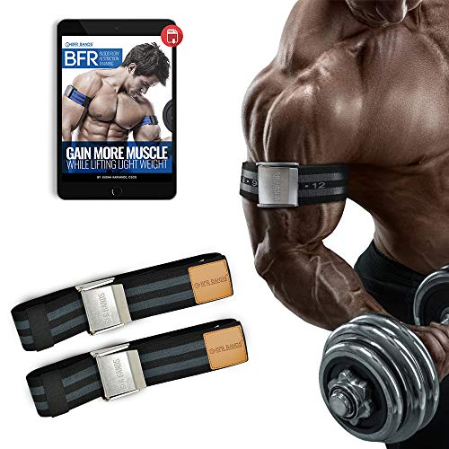 """BFR Bands PRO Premium Blood Flow Restriction Bands for Arms or Legs - 2"""" Occlusion Training Bands Help Gain Muscle Without Lifting Heavy Weights, Strong Elastic Strap, Metal Buckle (Set of 2)"""