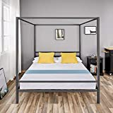 Queen Canopy Bed Frame Metal Platform Queen Four Poster, with Metal Frame and Slats, Holds up to 1100 lbs, No Box Spring Needed, Queen Size