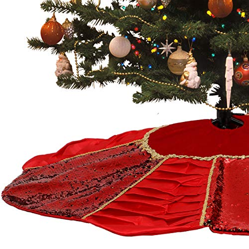 Valery Madelyn 48 inch Luxury Red Gold Reversible Sequins Christmas Tree Skirt Decorations with Ruffles and Flower Unique Shaped, Themed with Christmas Tree Decor (Not Included)