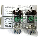 Tested/Matched Pair (2 Tubes) 7-Pin GE JAN 5654W Fully-Tested Vacuum Tubes - Upgrade for 6AK5 / 6J1 / 6J1P / EF95 - GE 5654W Platinum Grade Pair