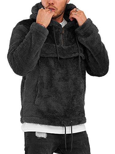behype. Herren Teddy-Fell Kapuzen-Pullover Sweatshirt weicher Hoodie mit Kapuze Fleece-Jacke 40-4735 Schwarz M