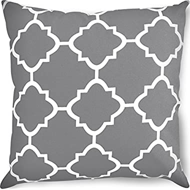 Utopia Bedding Decorative Square 18 x 18 Inch Throw Pillows Grey Moroccan Quatrefoil Lattice Cushion Pillow