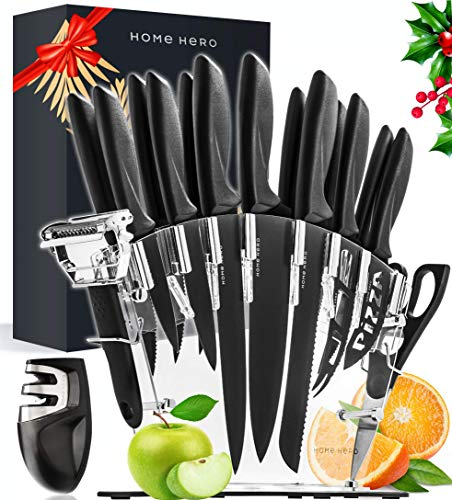 Home Hero 17 Pieces Kitchen Knives Set, 13 Stainless Steel Knives + Acrylic Stand, Scissors, Peeler...
