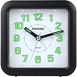Analog Alarm Clock for Kids, Super Silent Non Ticking Small Clock with Snooze and Night Light, Musical Sounds, Battery Operated Travel Alarm Clock, Simply Design, for Bedroom, Bedside, Desk, Bathroom